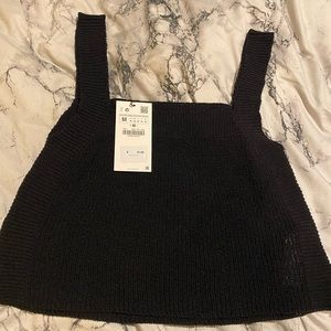 NWT black Zara sweater crop top